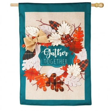 Autumn Leaves Wreath Burlap House Flag