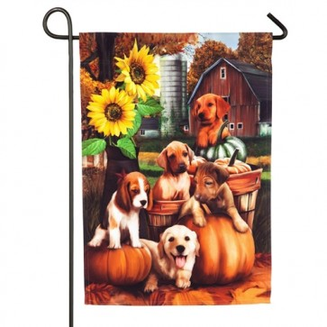 Autumn Puppies Garden Flag