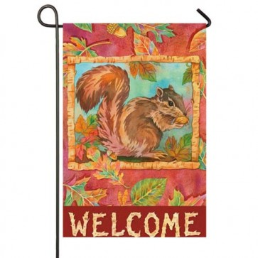 Autumn Squirrel Welcome Garden Flag