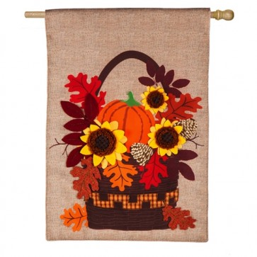 Autumn Basket House Burlap Flag