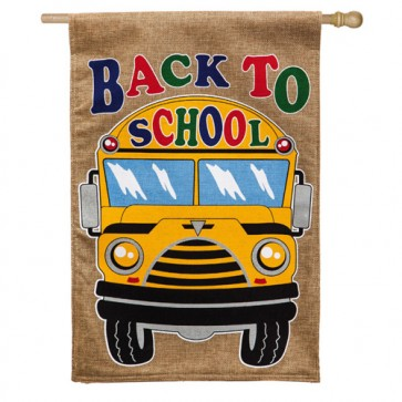 Back to School Bus Burlap House Flag
