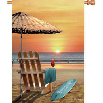 Bali Sunset Summer House Flag