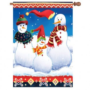 Bavarian Snowmen Winter House Flag