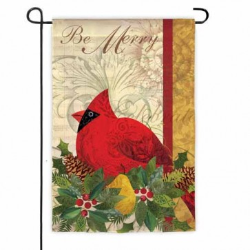 Be Merry Cardinal Garden Flag