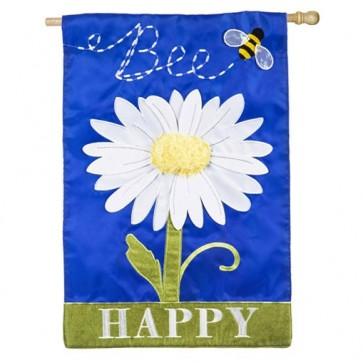 Bee Happy Daisy House Flag