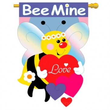 Bee Mine Valentine's Day House Flag