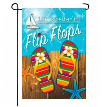 Better in Flip Flops Summer Garden Flag