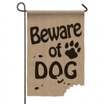 Burlap Beware of Dog Garden Flag