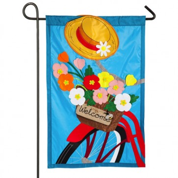 Bicycle Basket Spring and Summer Garden Flag
