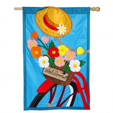 Bicycle Basket Spring and Summer  House Flag