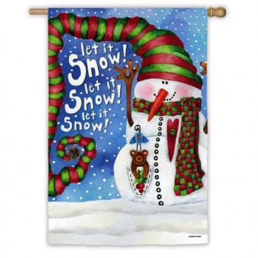 Big Hat Snowman House Flag