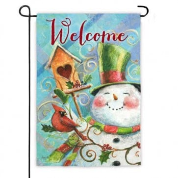 Birdhouse Snowman Welcome Garden Flag
