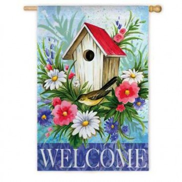 Birdhouse Welcome House Flag