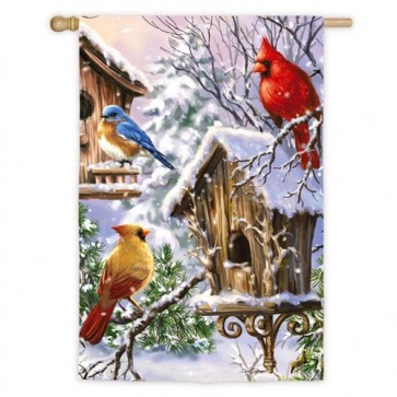 Birds of a Feather Winter House Flag