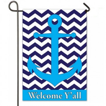 Blue Chevron Anchor Garden Flag