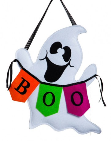 Boo Ghost Burlap Door Hanger
