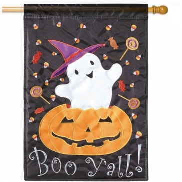 Ghost Boo Y'all  Halloween House Flag