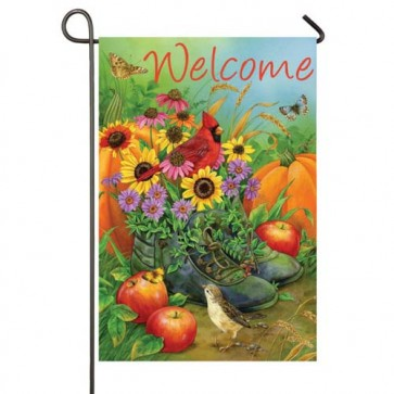 Boot Bouquet Garden Flag