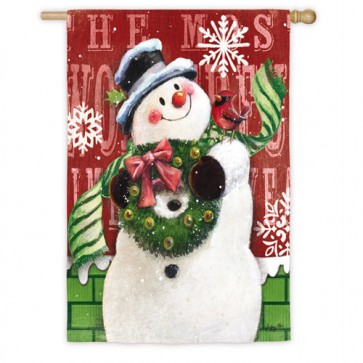 Brick Snowman  Winter House Flag