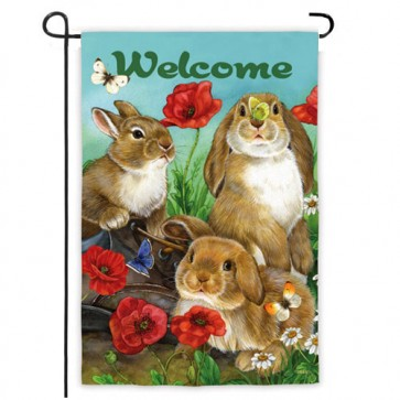 Bunnies and Butterflies Garden Flag