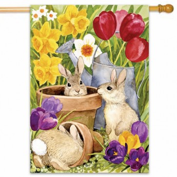 Bunnies Spring House Flag