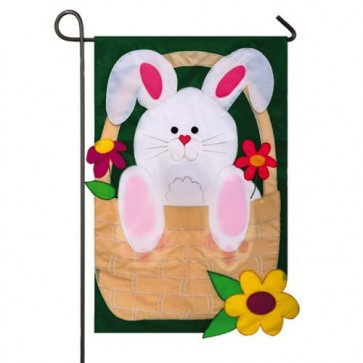 Bunny Basket Coming and Going Garden Flag