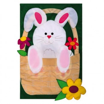 Bunny Basket Coming and Going House Flag