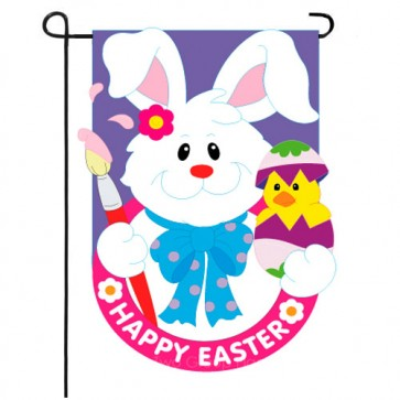Bunny with Chick Garden Flag