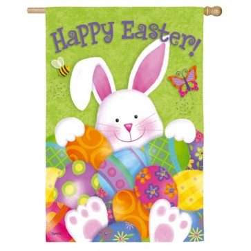 Bunny with Eggs Easter House Flag