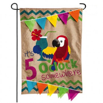 Burlap It's 5 o'clock Somewhere Garden Flag