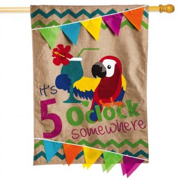 Burlap It's 5 o'clock Somewhere House Flag