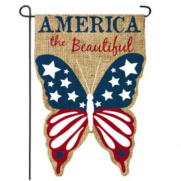 Burlap America the Beautiful Garden Flag