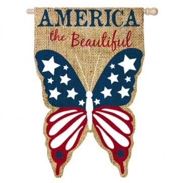 Burlap America the Beautiful House Flag