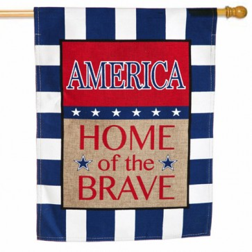Burlap America Home of the Brave House Flag