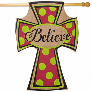 Burlap Cross Religious House Flag