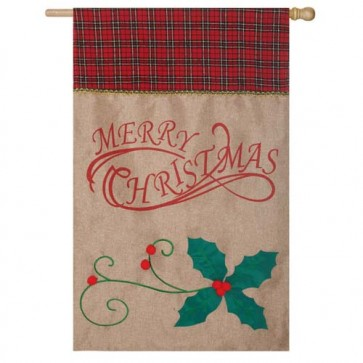 Burlap Merry Christmas House Flag