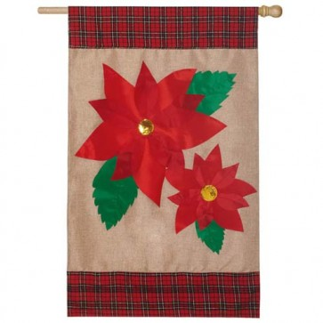 Burlap Poinsettia House Flag