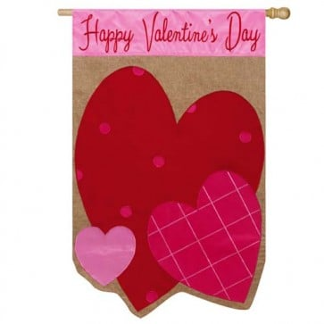 Burlap Valentine Hearts House Flag