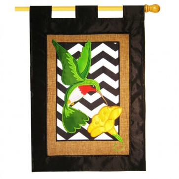Burlap Chevron Hummingbird House Flag