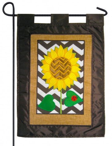 Burlap Chevron Sunflower and Lady Bug  Garden Flag