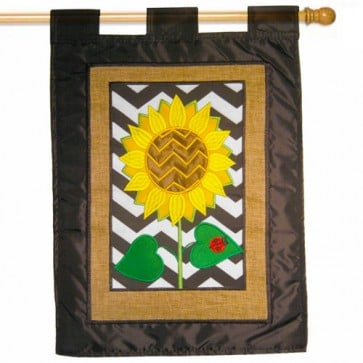 Burlap Sunflower House Flag