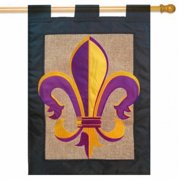 Fleur De Lis Purple and Gold Burlap Mardi Gras House Flag