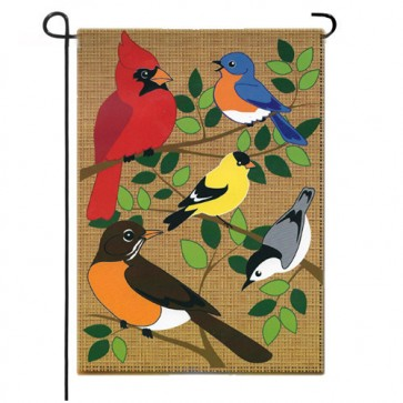Songbirds Burlap Garden Flag
