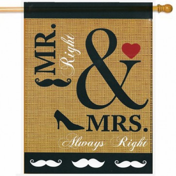 Wedding Burlap House Flag