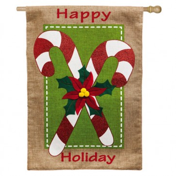 Candy Canes Burlap House Flag