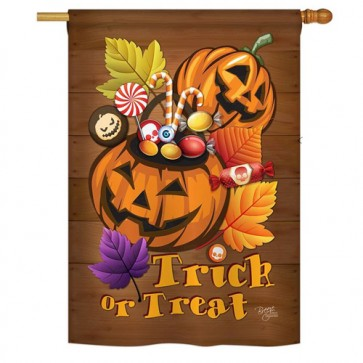 Candy Pumpkins Halloween House Flag