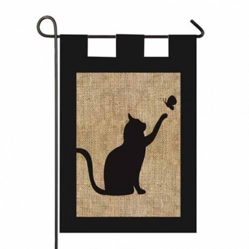 Cat and Butterfly Burlap Garden Flag
