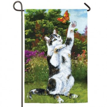 Cat and Butterfly Garden Flag