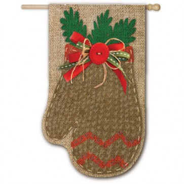 Burlap Chevron Mitten House Flag