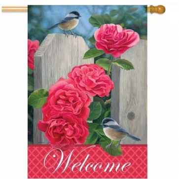 Chickadees and Roses House Flag